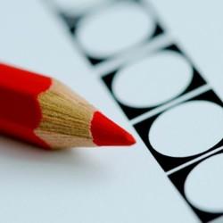 Stembiljet met rood potlood