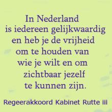 In Nederland is iedereen gelijkwaardig en heb je de vrijheid om te houden van wie je wilt en om zichtbaar jezelf te kunnen zijn. (Regeerakkoord Kabinet Rutte iii, 2017)