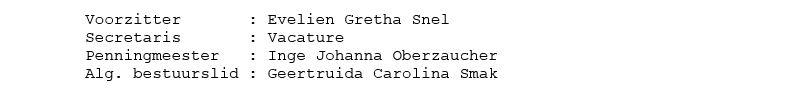 Namen van de bestuursleden